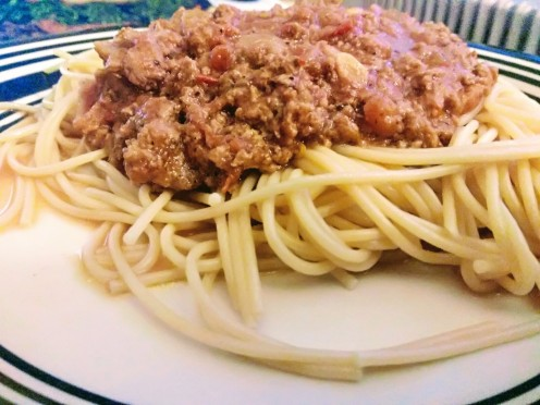 The Lean bolognese sauce with Spaghetti